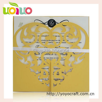 low price fashion heart delicate laser cut heart wedding and birthday invitation cards