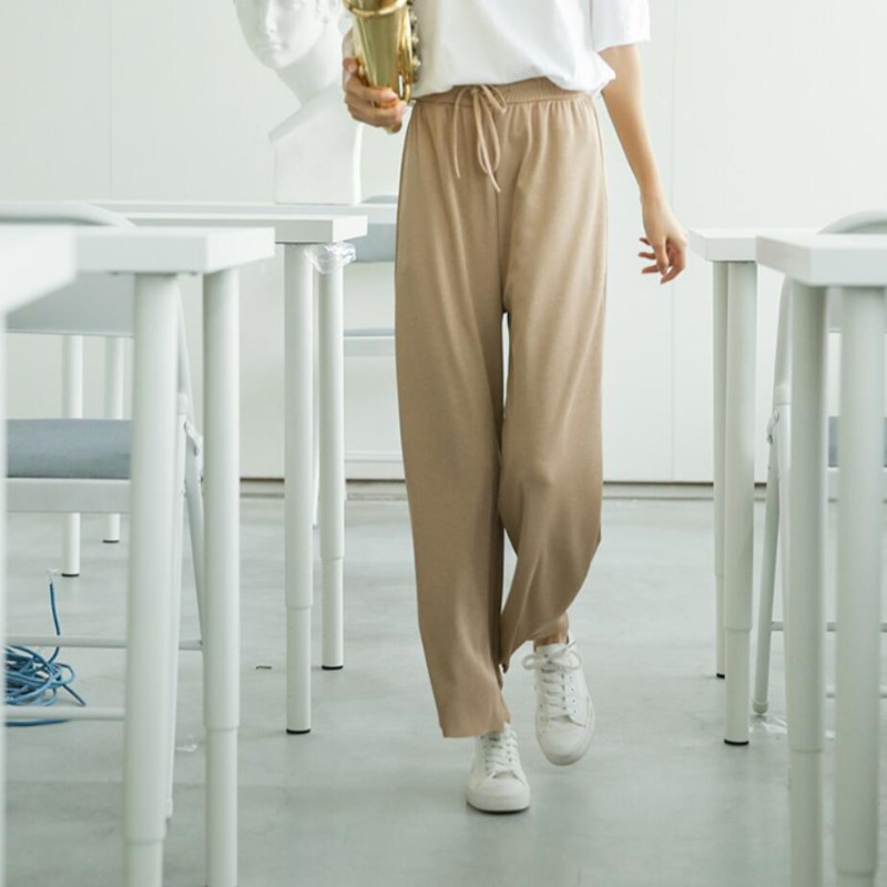 820# spring   pant   girl summer ice silk knitted   wide     leg     pants   female apricot color drape nine   pants   high waist thin