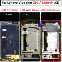 Lenovo Vibe shot Z90 Z90-7 LCD Display Touch Screen Digitizer With bezel  middle Frame Replacement For Lenovo Z90 z90a40 Display