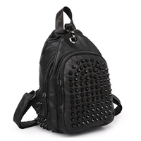 fashion Genuine Leather female baotou layer joining together backpack punk backpack colorful bags