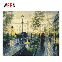 WEEN Paris Diy Painting By Numbers Abstract Rainy Street Oil On Canvas Couples Cuadros Decoracion Acrylic Wall Art Gift