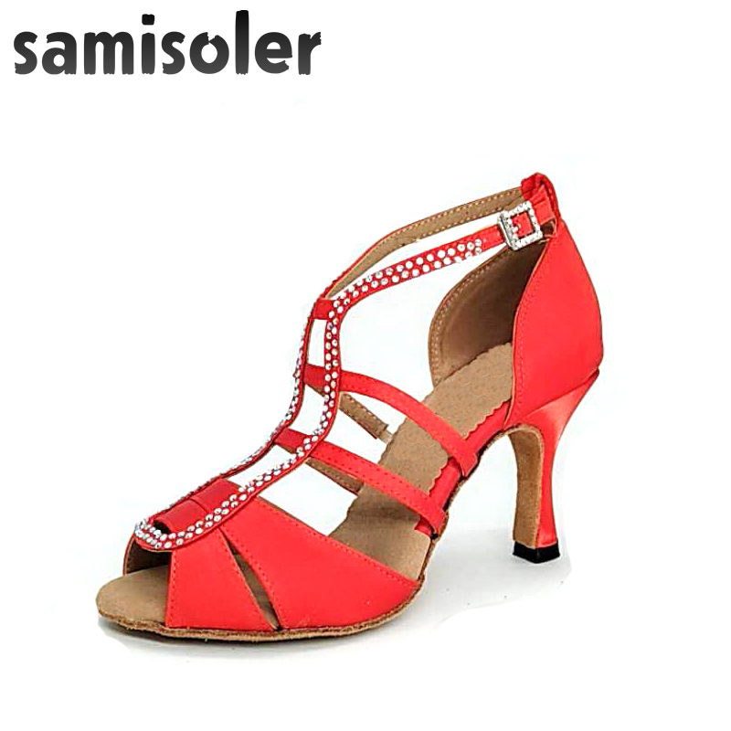 Samisoler Red New Flash Cloth Collocation Shine Rhinestone Ballroom Fashion Dance Women Latin Dance Competition Shoes