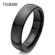 TIGRADE 6mm Black Men's High Polished Tungsten Carbide Wedding Band Engagement Ring Finger Jewelry For Women Unisex