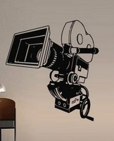 Creative VideoVinyl Wall Decal Cinema Video Camera Movie Retro Old School Interior Mural Art Wall Sticker Room Home Decoration