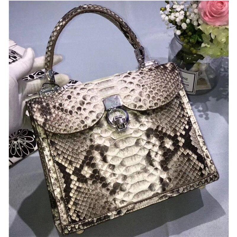 Fashion Serpentine Designer Genuine Python Leather Women's Purse Female Handbag Exotic Snakeskin Lady Single Cross Shoulder Bag