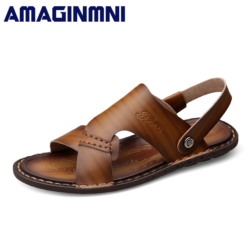 AMAGINMNI Brand Hot Sale New Fashion Summer Leisure Beach Men Shoes High Quality Leather Sandals The Mens Sandals Size 38-44