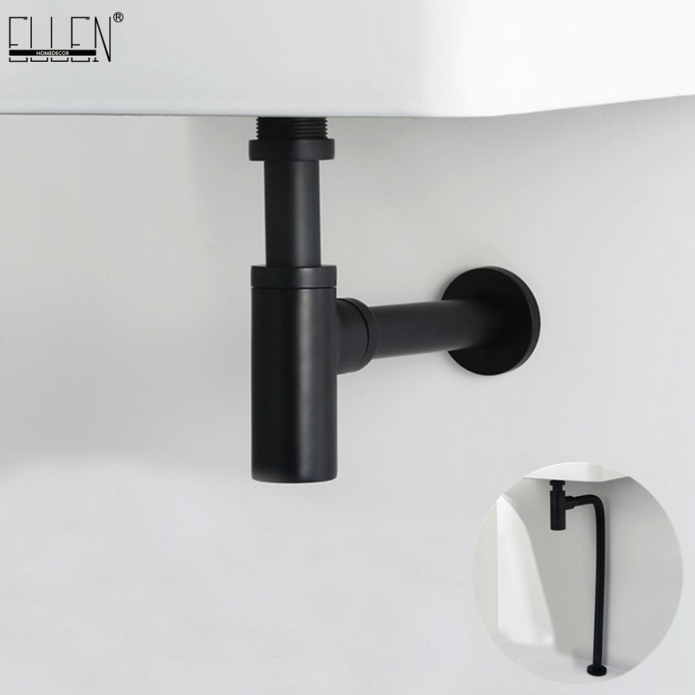 все цены на Brass Bottle Trap Basin Pop Up P TRAP Round Siphon Black Bathroom Vanity Basin Pipe Waste With Pop Up Drain ELF019