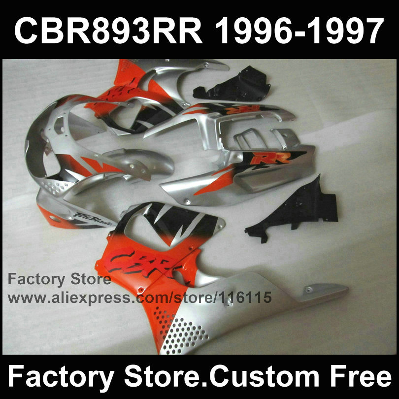 Custom free fairing kits for honda cbr 900rr 96 97 cbr893 rr 1996 1997 orange silver motorcycle cbr 8