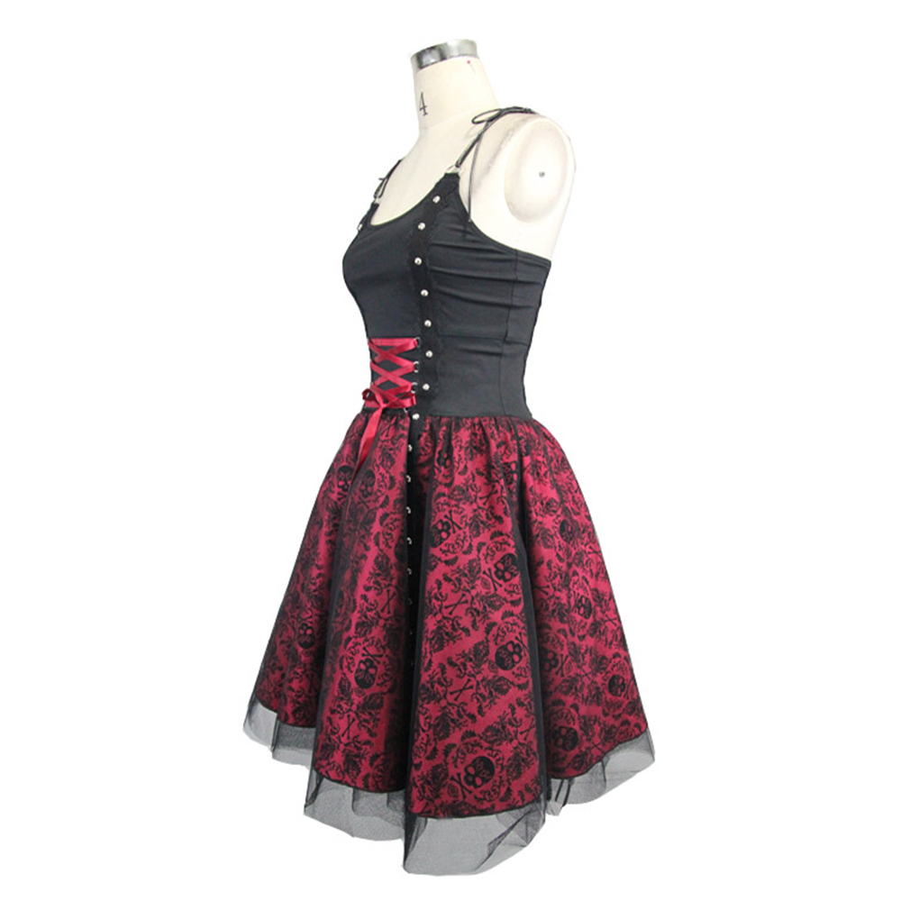 65926c1ef79 Steampunk Women s Bandage Party Ball Gown Summer Gothic Skull Printed Slip  Formal Dress Halloween Costume-in Dresses from Women s Clothing on  Aliexpress.com ...
