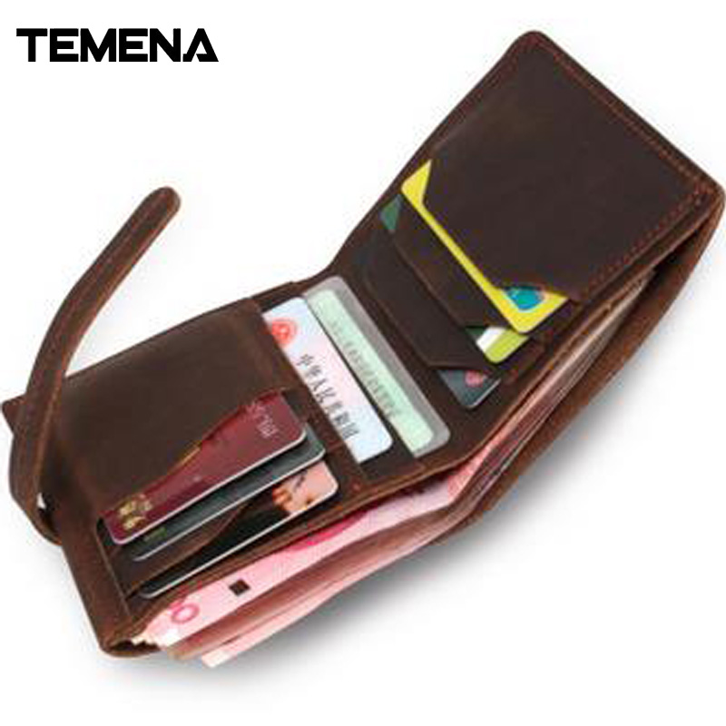 Temena 2017 New Fashion Genuine Leather Men And Women Wallets Vintage Purse High Quality  Card Holder Short Clutch Wallet AWL023 2017 new cowhide genuine leather men wallets fashion purse with card holder hight quality vintage short wallet clutch wrist bag