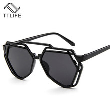 TTLIFE Retro Metal Frame Sunglasses Women And Men Cutout Sun Glasses Big Polygonal Eyeglasses Clear Lens Eyewear YJHH0109