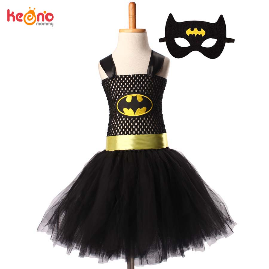 Superman Batman Girls Tutu Dress with Mask Super Hero Inspired Baby Costume Kids Cosplay Christmas Halloween Tutu Dress