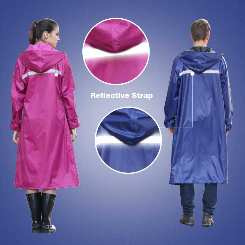 Rainfreemに不透過性レインコート女性/男性防水トレンチコートポンチョ二層レインコート女性レインウェア雨具ポンチョ