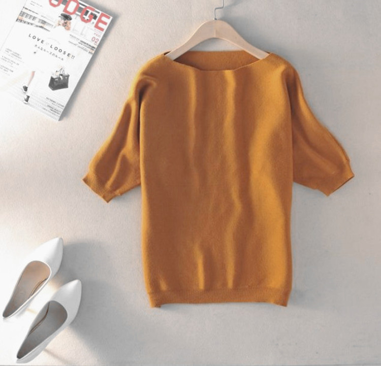 zocept High-Quality Cashmere Sweater Women Loose Casual Big Bat Shirt Short-Sleeved Kintted Soft and Comfortable Pullovers 4
