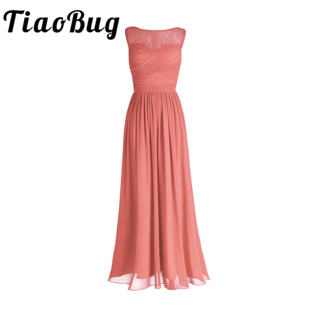 TiaoBug Coral Apricot Women Ladies Chiffon Lace Bridesmaid Dresses Long Prom Gown Plus Size Floor Length Wedding Party Robe