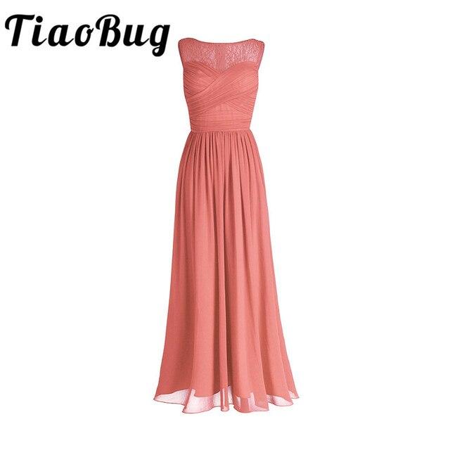 TiaoBug San Hô Apricot Phụ Nữ Phụ Nữ Voan Ren Bridesmaid Dress Dài Prom Gown Cộng Với Kích Thước Tầng Length Đảng Bridesmaid Dresses