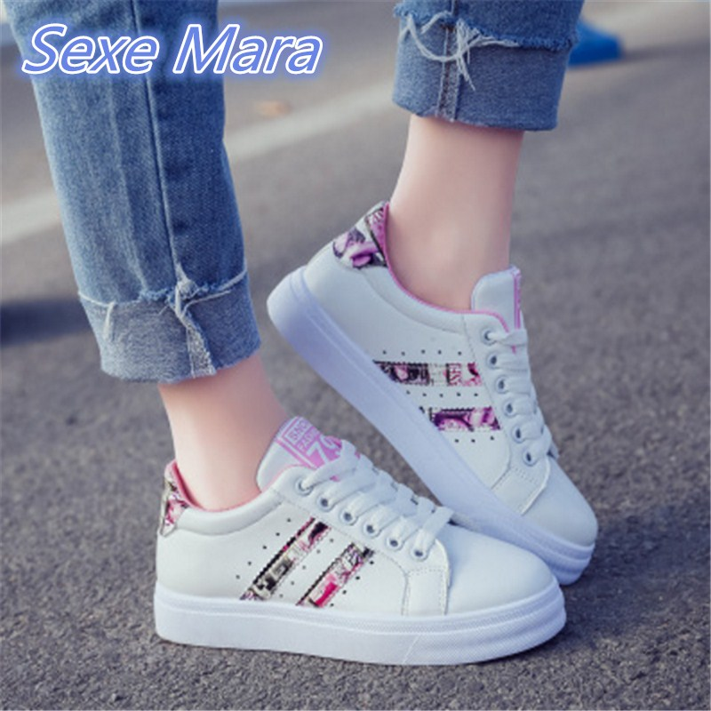 New 2017 Spring autumn Shoes Women Flats PU Fashion Women's Casual Breathable Comfortable Brand White Shoes Woman size 36-40 simfer b6em13001