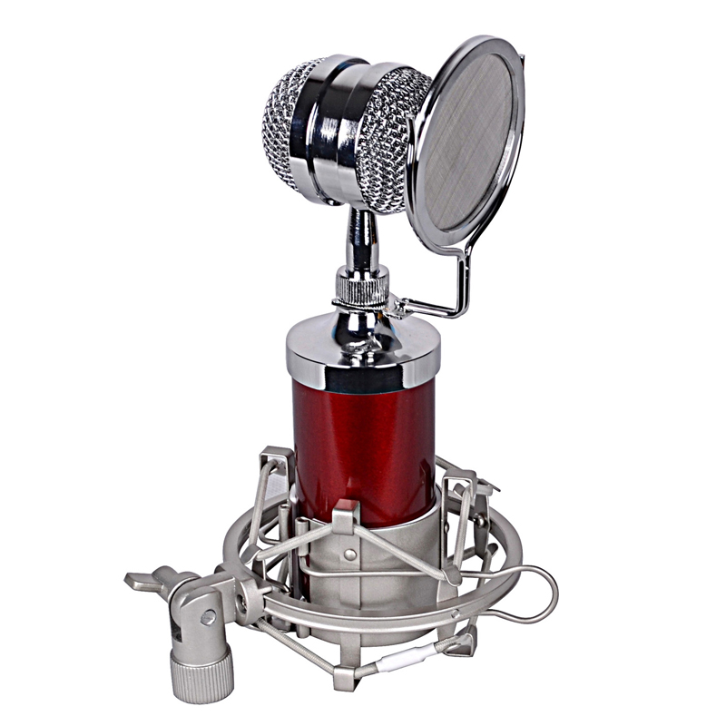 Red BM-8000 Sound Studio Recording Condenser Wired Microphone With 3.5mm Plug Stand Holder Pop Filter for KTV Karaoke  3 5mm jack audio condenser microphone mic studio sound recording wired microfone with stand for radio braodcasting singing