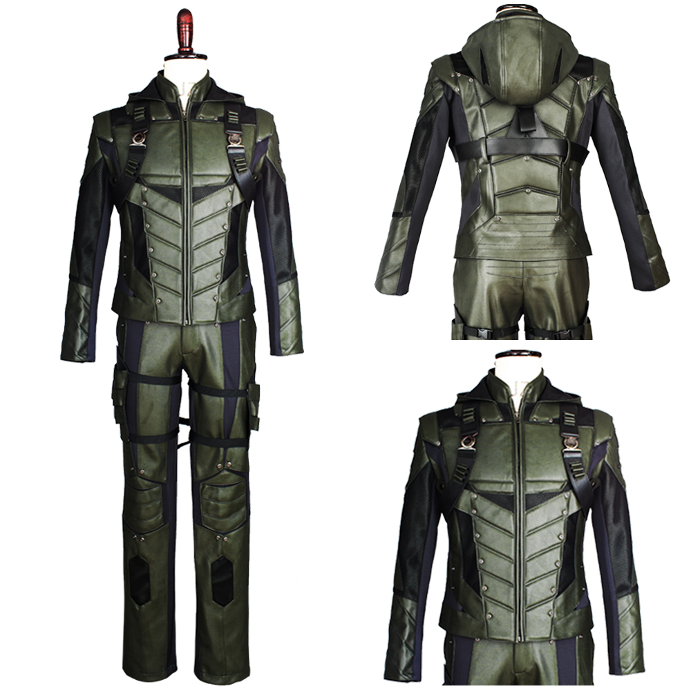2017 Green Arrow Season 5 Costume Superhero Oliver Queen Cosplay Costume Outfit Harness Suit Uniform Whole Set For Adult Men