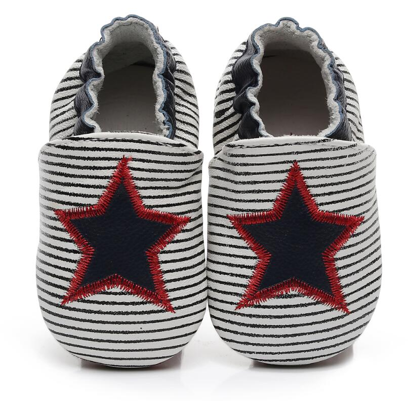 Baby Moccasins 2020 Strip Hot Multiple Star Genuine Leather Baby Girls Boys Shoes First Walkers Soft Sole Baby Shoes For 0-24M