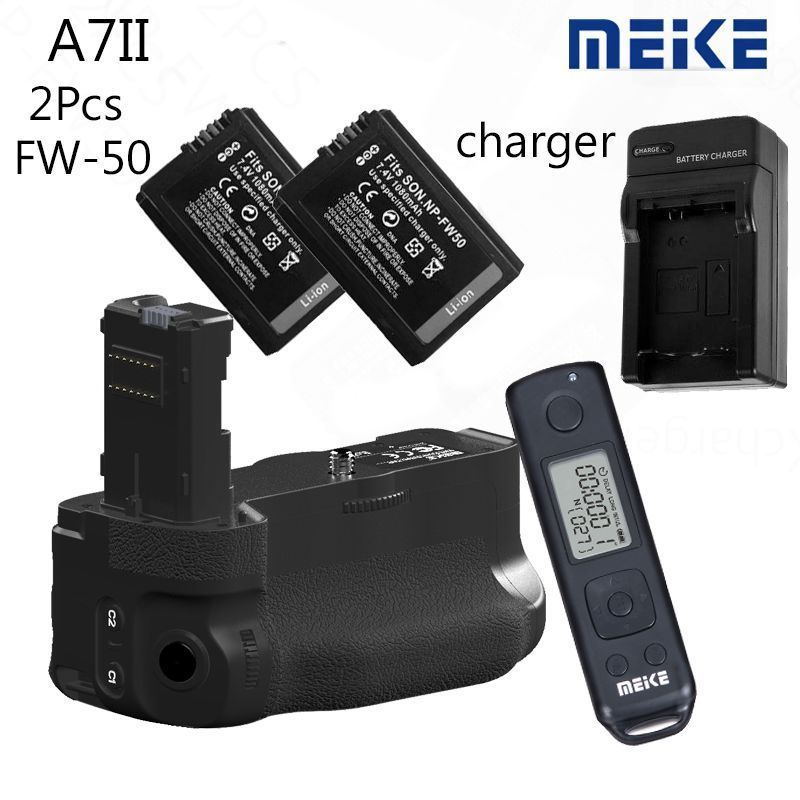 Meike MK-A7II Pro Wireless Ctrl Battery Grip for Sony A7 II A7R II as VG-C2EM 2x FW-50 meike mk ar7 built in 2 4g wireless control battery grip for sony a7 a7r a7s
