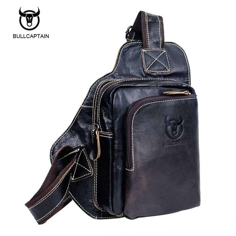 Bullcaptain New Arrival Men Chest Bag Genuine Leather Men Bag Brand Designer Leather Messenger Bags Casual Mens Crossbody Bags bullcaptain new arrival 100