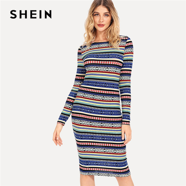 1c16a1e4250 SHEIN Multicolor Striped Geometric Pencil Dress Elegant Party Sexy Knee  Length Bodycon Slim Dresses Women Autumn Tribal Dress