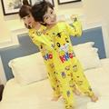 Spring & Autumn 2017 pijamas das Crianças set longo-luva encantador dos desenhos animados do bebê menino roupas de algodão pijama do Menino crianças Sleepwear