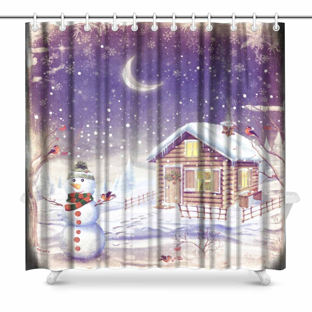 Us 11 4 62 Off Aplysia Winter Landscape With Snowman Christmas Scene With Snowman And House Fabric Shower Curtain Decor With Hooks In Shower
