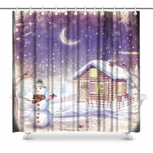 Aplysia Winter Landscape Scene Fabric Shower Curtain Decor