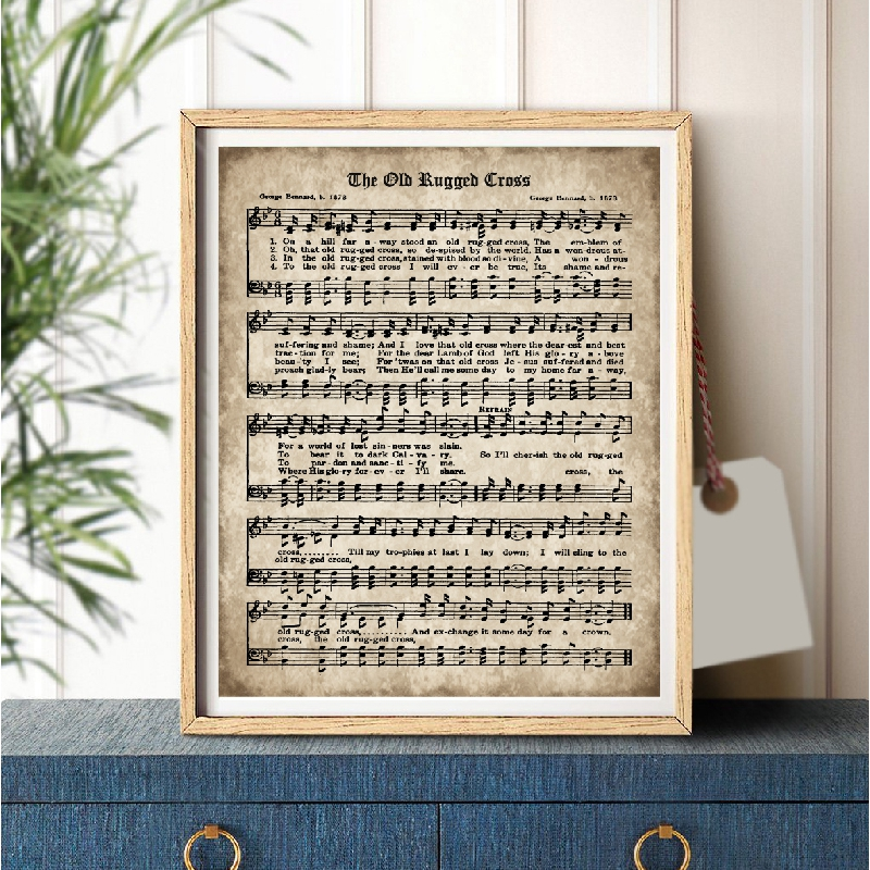 photo about Old Rugged Cross Printable Sheet Music named The Outdated Rugged Cross Print Typical Sheet Songs Poster Canvas Portray Visualize Previous Antique Hymn Inspirational Offers Household Decor