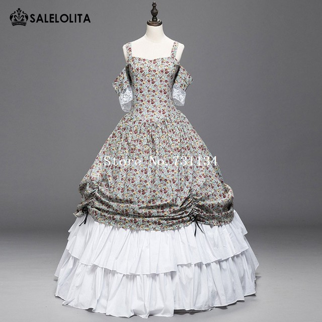 Civil War Renaissance Colonial Ball Gown Period Dress Floral Theater ...