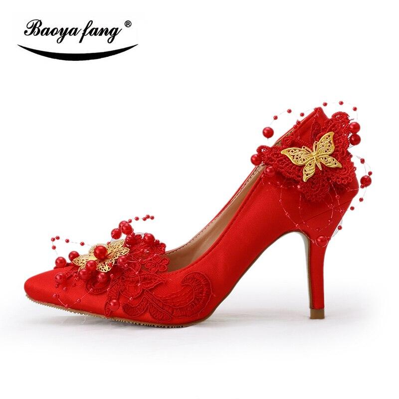 Baoyafang Femme Chaussures D'honneur Demoiselle Femmes Cm Mariée Bout Pointu Bowtie Fleur Pompes Faible Rouge Talon 8 Mariage De v4q8FrvyS