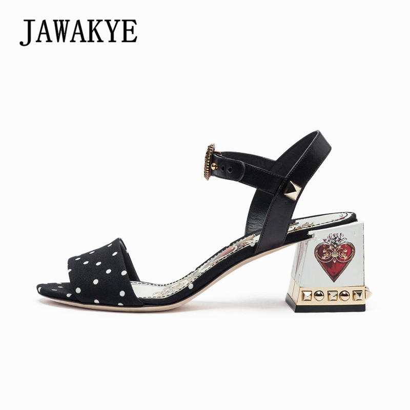 New Fashion Chunky high heels ladies sandals Peep toe silk Polka dot Print Crystal thick heel Summer Wedding Shoes Women Sandals high waist polka dot print trumpet pants