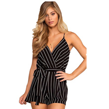 776299b1e3f1 Women Sexy Lolita Backless Gallus Deep V-neck Playsuits Lace up Waist Black  Striped Straight Shorts Bodysuits