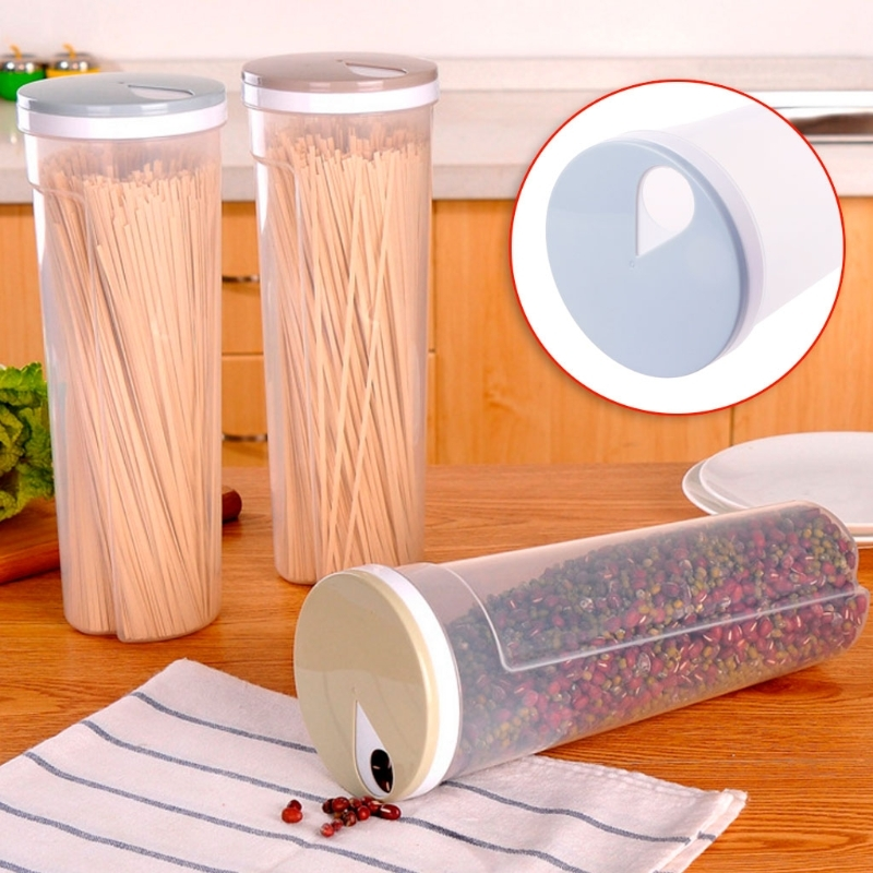 NEW Cutlery Noodle Storage Box Tall Food Storage Box Spaghetti Noodles Container Grain Cereal Jar Airtight Leak