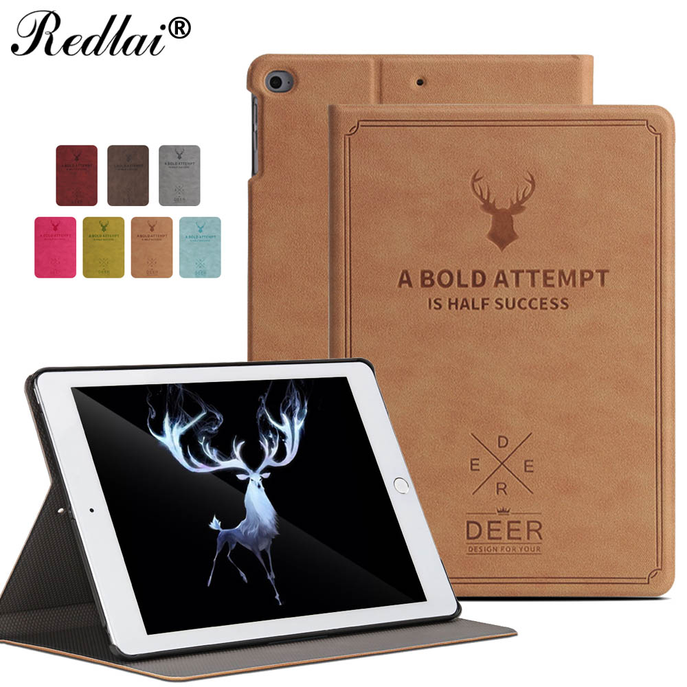 For New iPad 2017 iPad 9.7 inch Case,Deer Pattern Leather Smart  Case with Auto Wake Sleep Flip Case For Apple iPad 9.7inch 2017