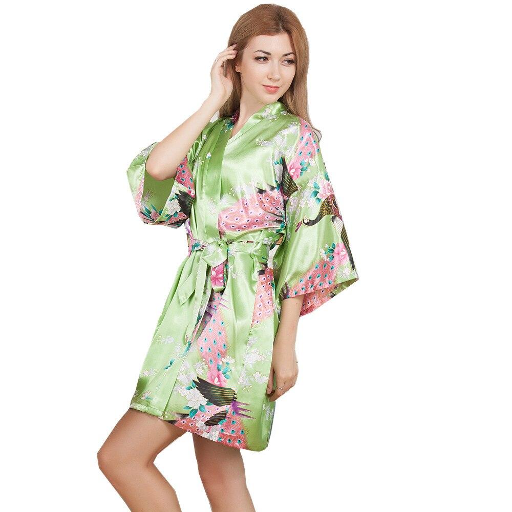 New Wedding Bride Bridesmaid Robe Floral Bathrobe Short Kimono Night Robe Bath Robe Fashion Dressing Gown For Women One Size T13