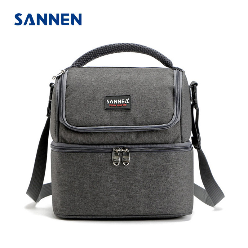SANNEN 7L Double Decker Cooler Lunch Bags Insulated Solid Thermal Lunchbox Food Picnic Bag Cooler Tote Handbags for Men Women 20l extra large camouflage cooler bags thermal insulated picnic bag box travel picnic food storage accessories supplies products