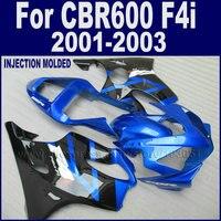Customize road race motorcycle fairings kit for Honda CBR 600 F4i 2001 2002 2003 cbr600f4i 01 02 blue black fairing body parts