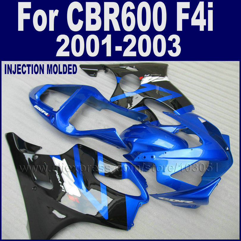 Customize road race motorcycle fairings kit for <font><b>Honda</b></font> CBR 600 F4i 2001 2002 2003 <font><b>cbr600f4i</b></font> 01 02 blue black fairing body <font><b>parts</b></font> image