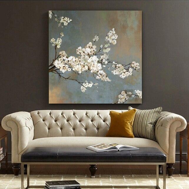 blanco flores de cerezo pintura al leo impresiones de la lona de decoracin del hogar dormitorio