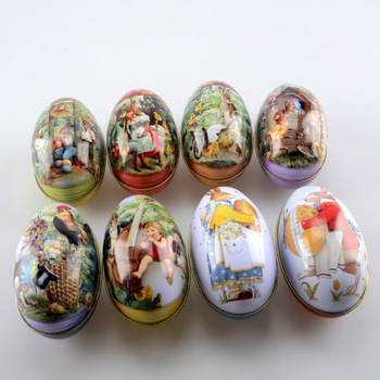 24 pcs Easter Bunny Chick Printing Alloy Metal Trinket Tin Easter Eggs Shaped Candy Box Tinplate Case Party Decoration
