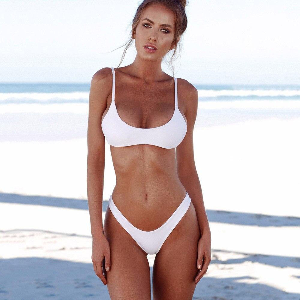 Buy 2018 Sexy Solid Bikinis Women Swimsuit Halter Top Swimwear Push Bathing Suits Beachwear Brazilian Bikini Set Plus Size S-XXL