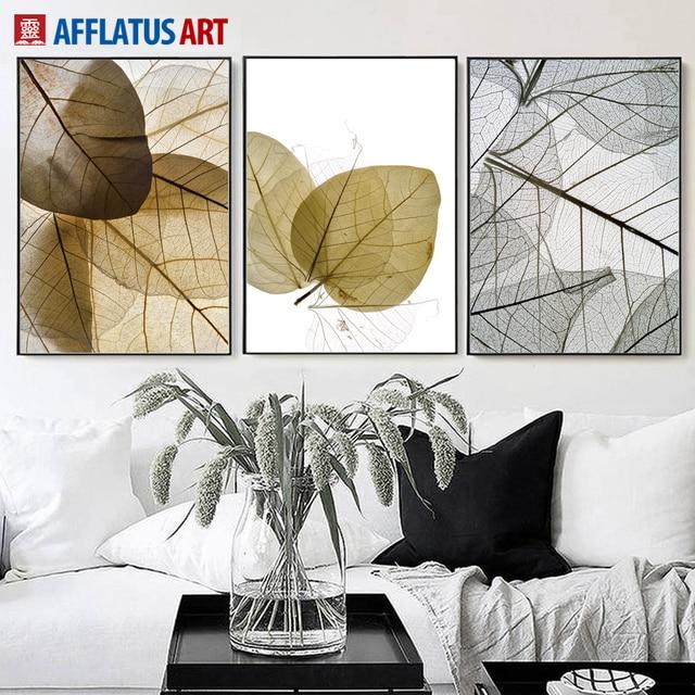 AFFLATUS Transparente Blätter Leinwand Malerei Wandkunst Poster Und ...