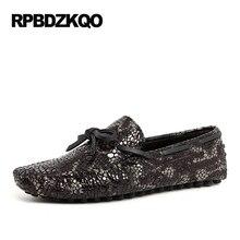 Loafers Python Leather Snake Skin Moccasins Genuine Boat Shoes Men Black Plus Size Snakeskin Real Brown Fashion Popular Spring