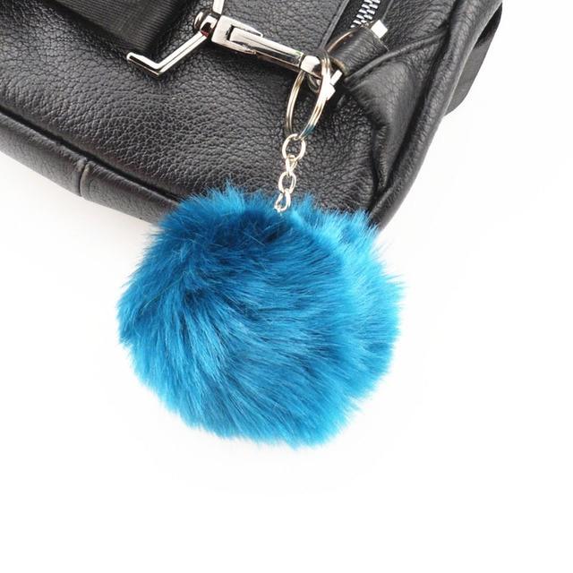 15 cor fluffy bola de cabelo de coelho senhoras saco carro chaveiro para Odeysey Honda CRV Accord Crosstour FIT Cidade Jazz Carro acessórios