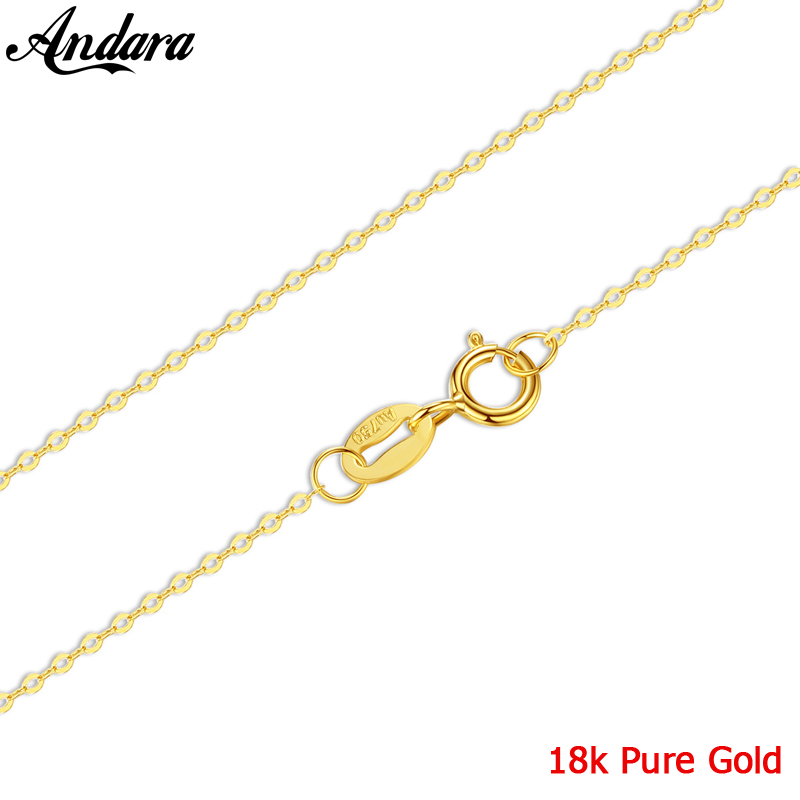 Real Yellow Gold Chain Necklace 45cm Pure 18k Gold Women Necklace Accessories