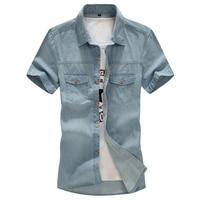 tops brand Plus Size 4XL 5XL 6XL 7XL 8XLNew Men's Denim Shirts Men Wear Loose Big Short Sleeves Cotton Shirt Men tops cotton