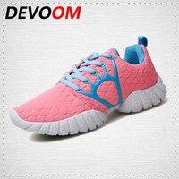 DEVOOM New Fashion Shoes Woman Breathable Mesh Women Flats Walking Super Light Girls Summer Casual Shoes